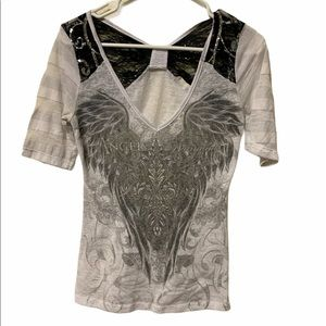 5/$25 EUC small Angels & Diamonds top